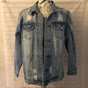 Haute Monde oversized jean denim destroyed jacket